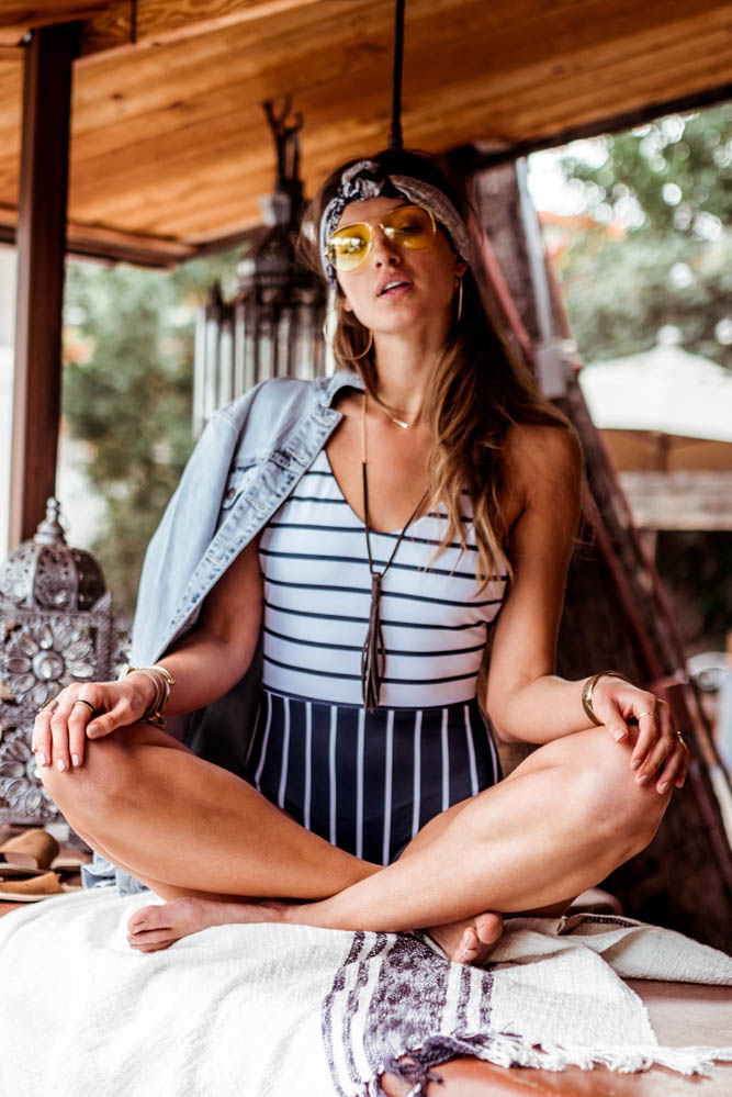 Peachy Keen Navy Stripe One-Piece Swimsuit - Bohme