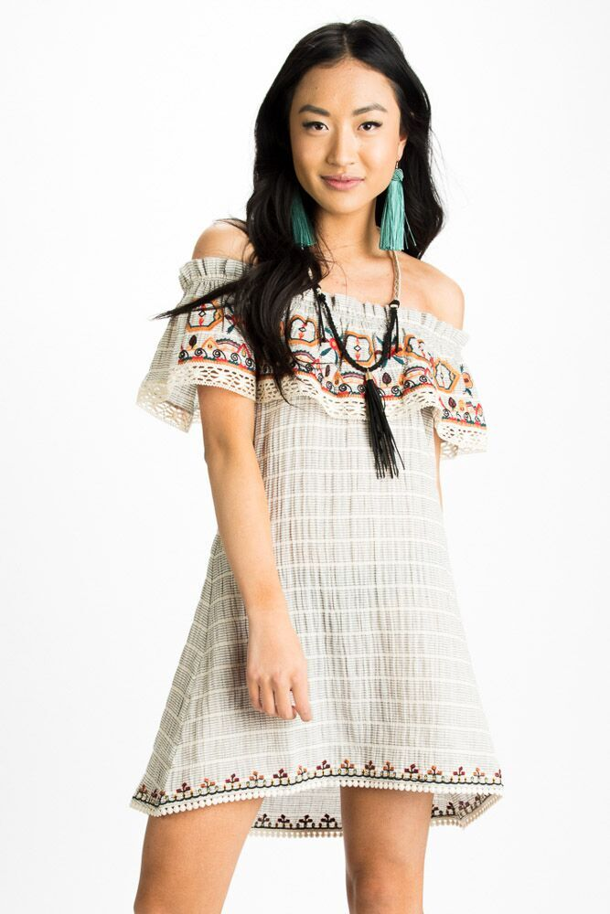 Island Girl Embroidered Off Shoulder Ruffle Dress-FINAL SALE