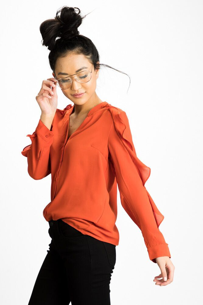 Keep It Ruffle Sleeve Button Up Top - Bohme