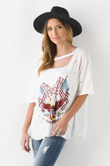 "Distressed V-Neck ""Born Free"" Graphic Tee"