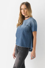 Rough Around The Edges Chambray Top