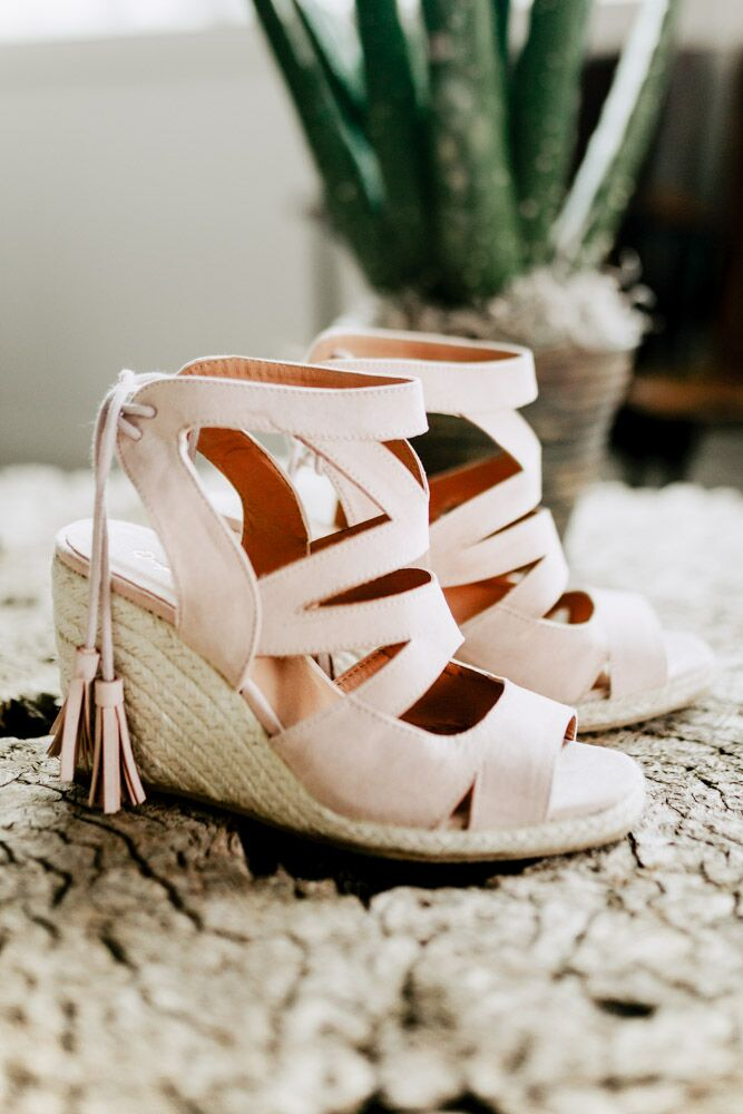 Emmie Strappy Wedge Sandal in Nude
