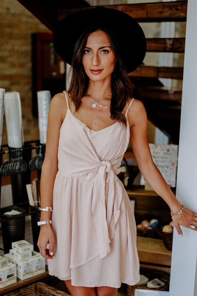 Ready or Knot Sleeveless Dress in Blush