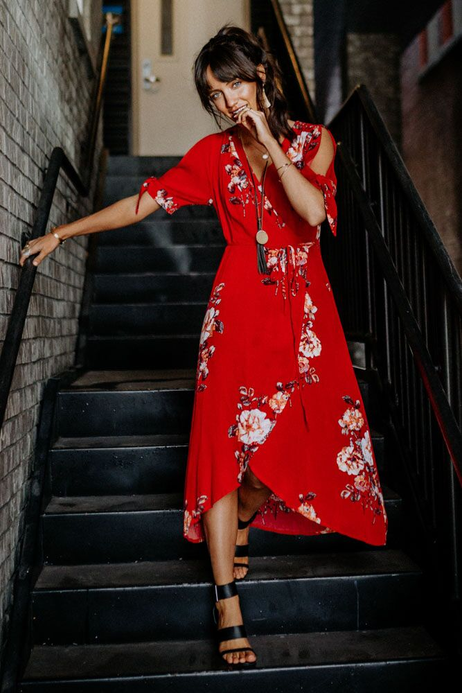 Red Garden Wrap Midi Dress