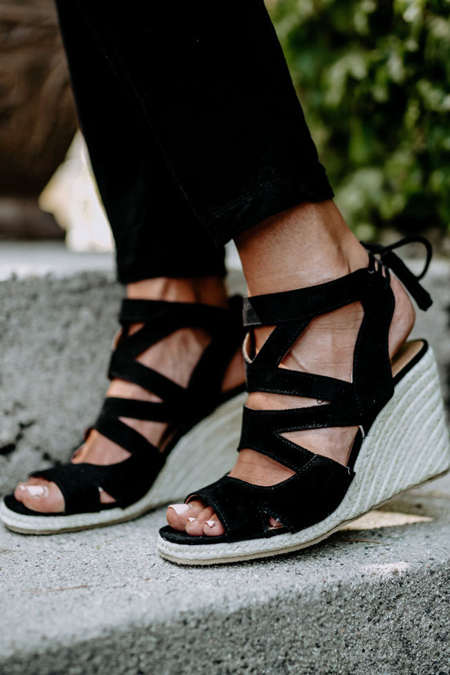 Emmie Strappy Wedge Sandal in Black