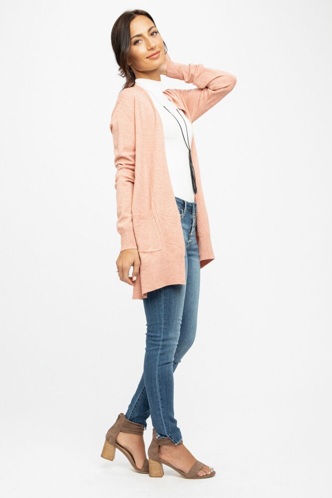 Open Sesame Salmon Knit Pocket Cardigan