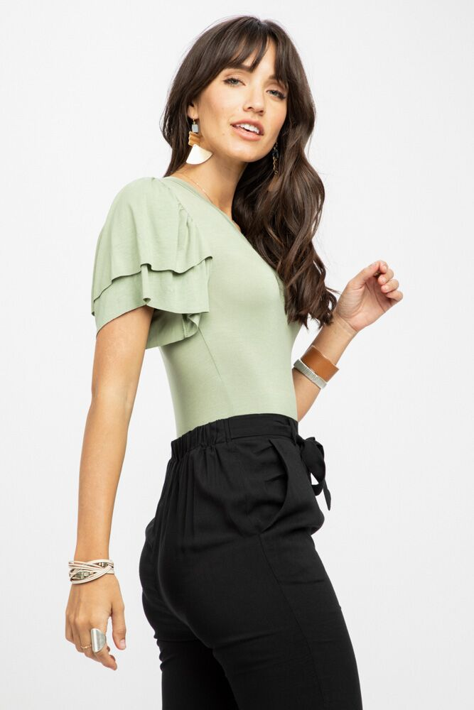 Oh That Sage Bodysuit With Ruffles-FINAL SALE