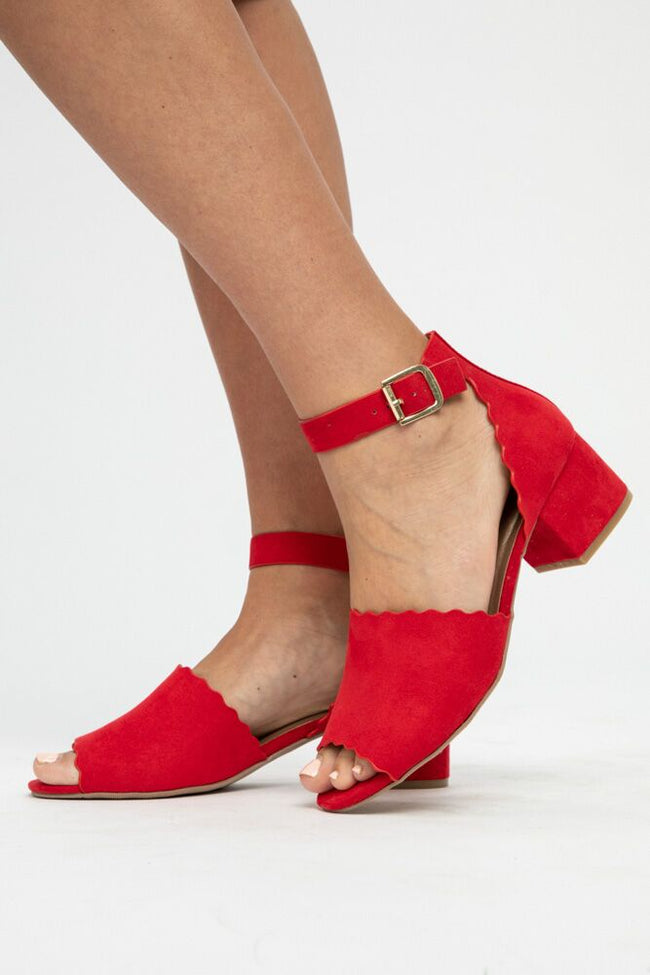Rouge Scallop Ankle Strap Heel