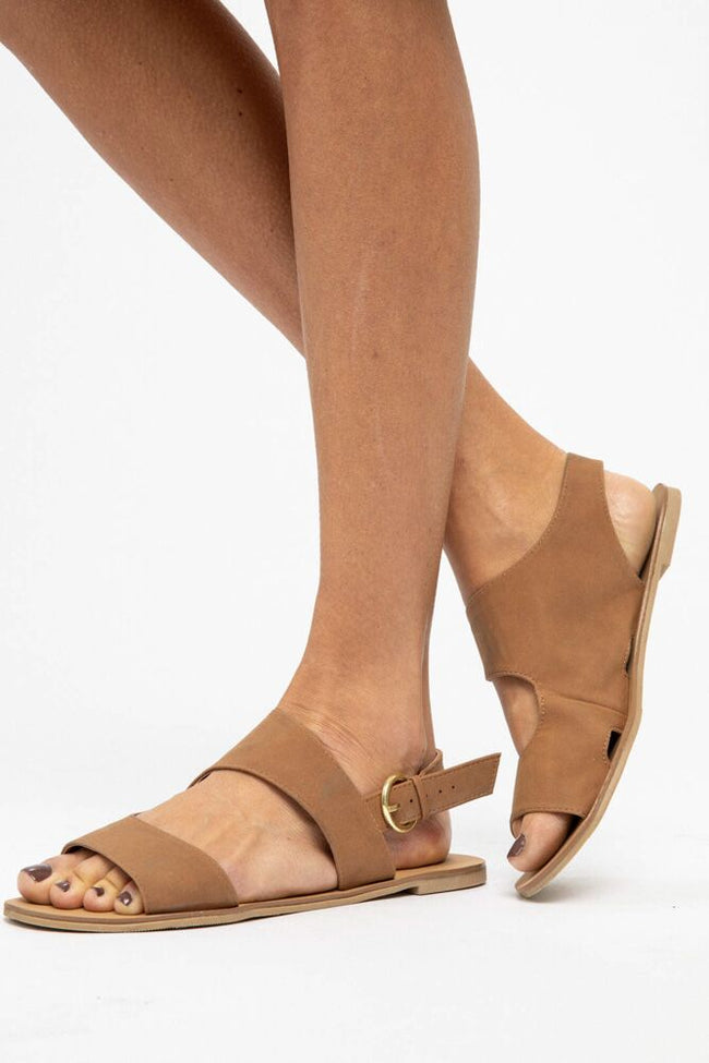 Mile Long Walk Open Toe Sandals in Cognac