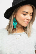 Tier With Me Teal Tassel Earrings
