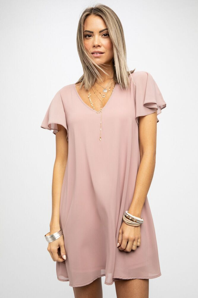 Moving On Flutter Sleeve Dress in Dusty Rose