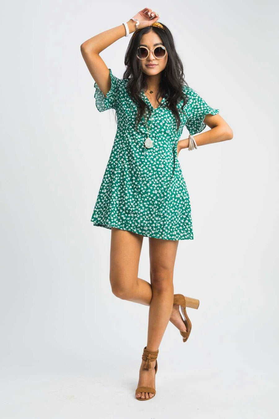 Go Lucky Floral Button Down Dress