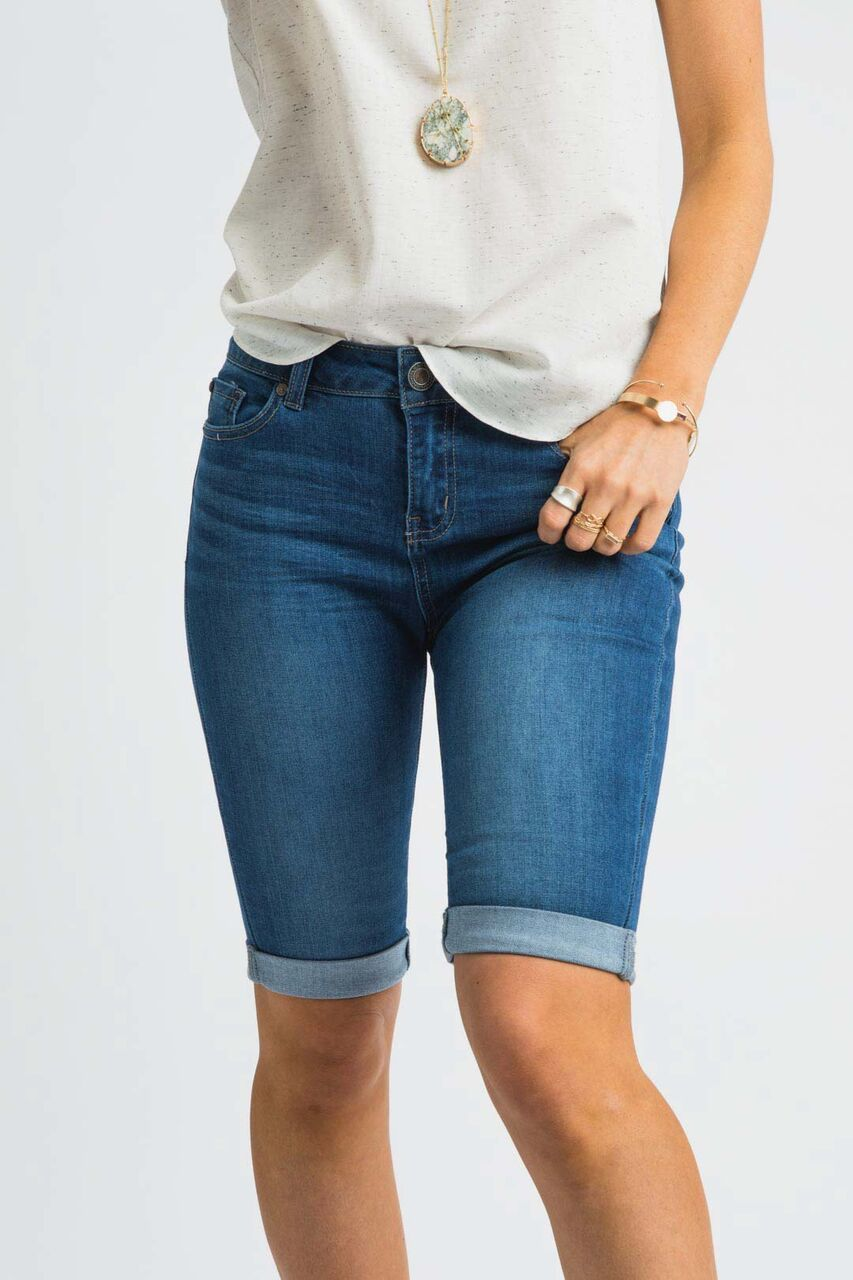 So Solid Dark Wash Bermuda Shorts - Bohme
