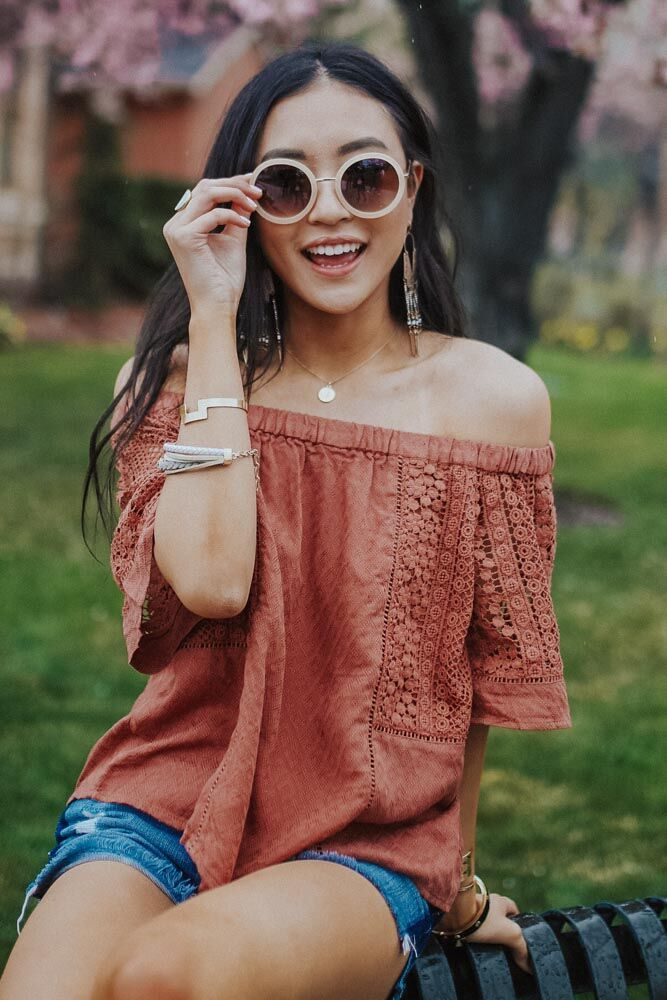 Be Free Off Shoulder Lace Insert Top - Bohme