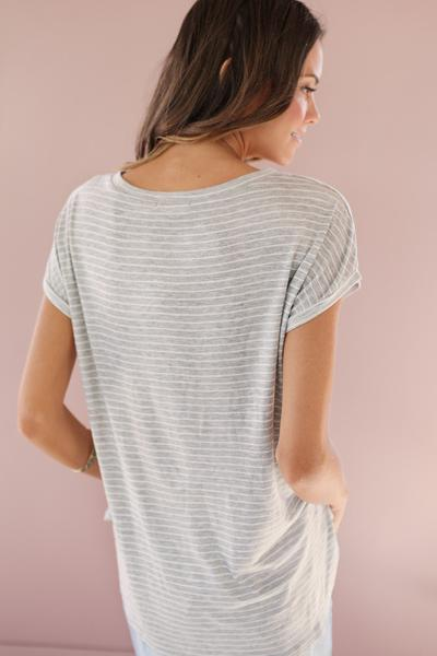 For the Love of Stripes Tee in Grey