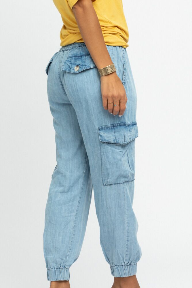 Downtown Cargo Joggers in Denim - Bohme