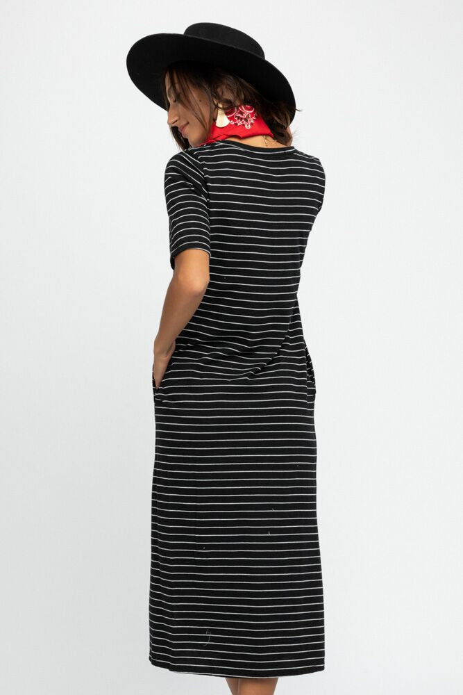 Rori Striped Midi Dress in Black