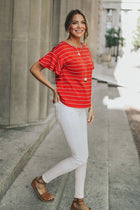 Go With Me Ruffle Red Tee