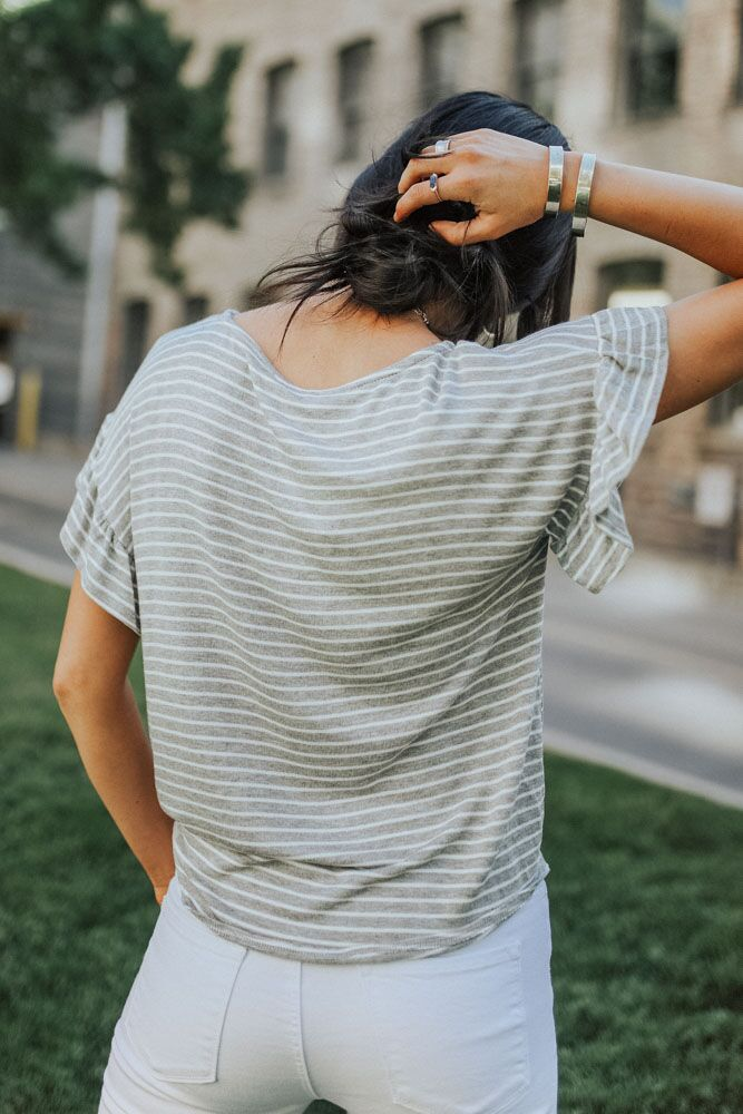 Stripe Avenue Tee in Grey - Bohme