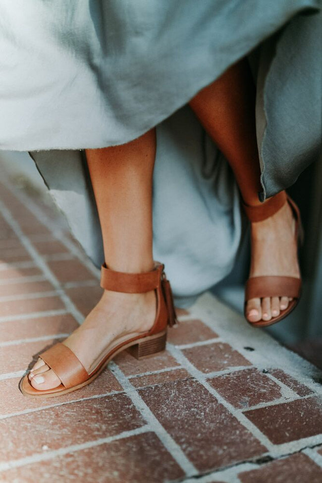 Briefly Ankle Strap Heels in Tan