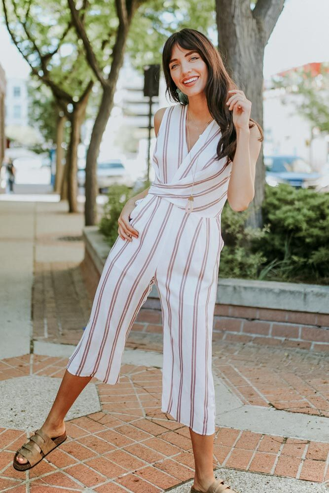 Loving on Stripes Mauve Jumpsuit