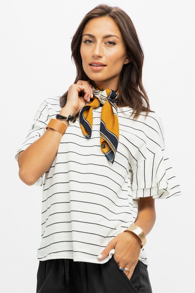 Go With Me Ruffle White Tee