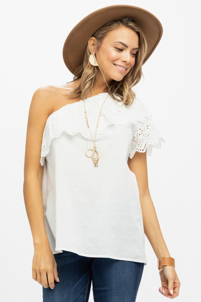Final Sale - Manhattan One Shoulder Ivory Blouse - Bohme