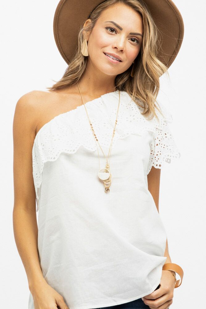 Manhattan One Shoulder Ivory Blouse