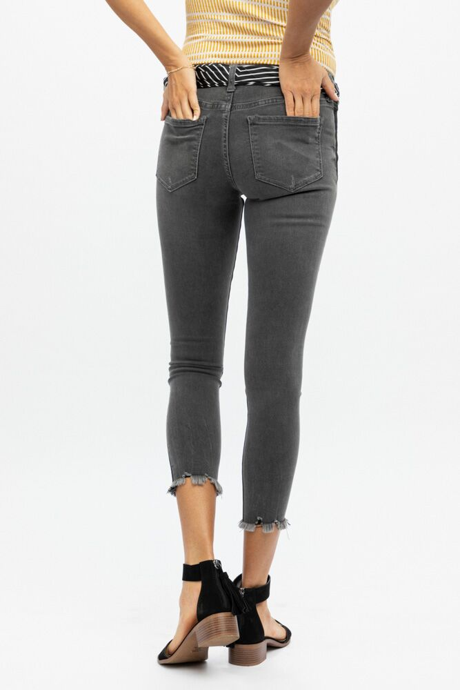 Vervet by Flying Monkey Tuxedo Stripe Skinny Ankle Denim - Bohme