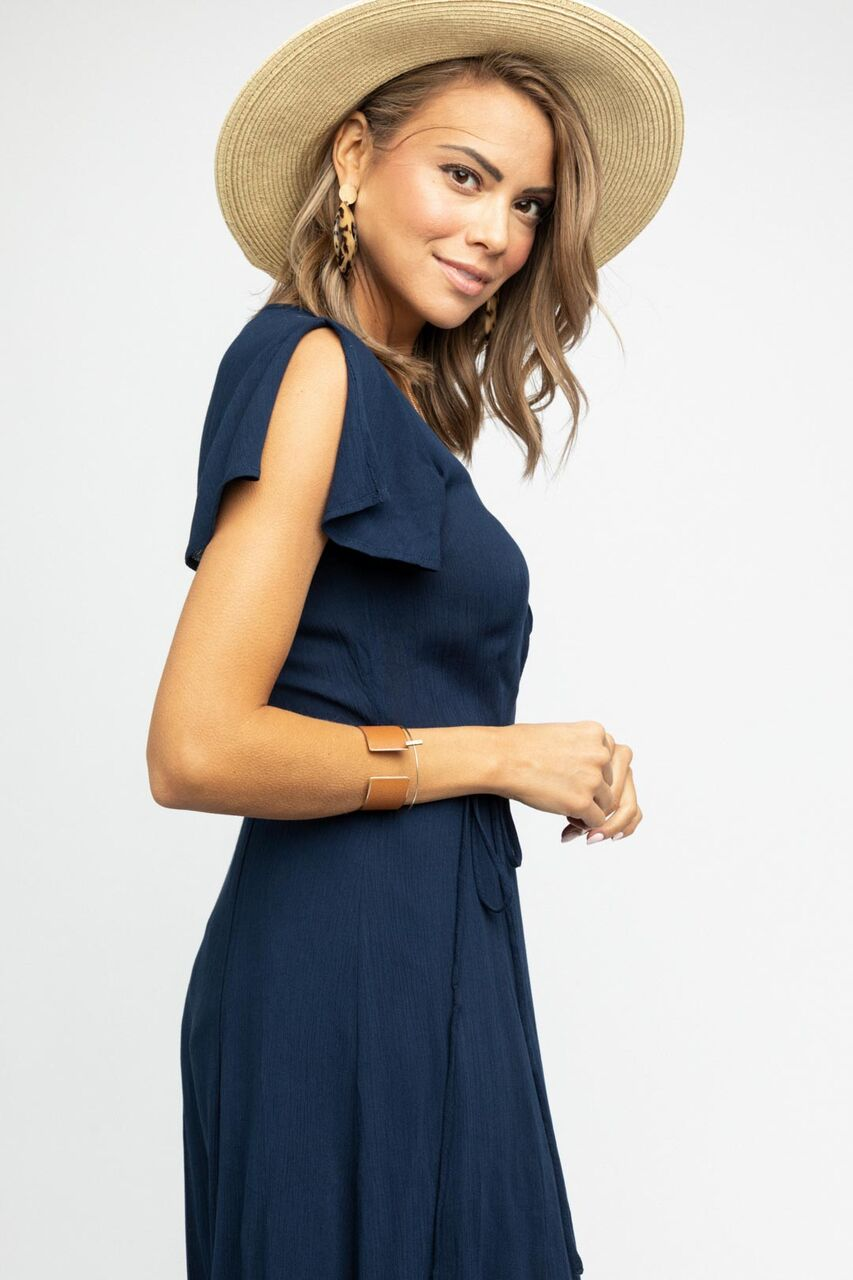 Amara Flutter Sleeve Wrap Maxi Dress in Navy