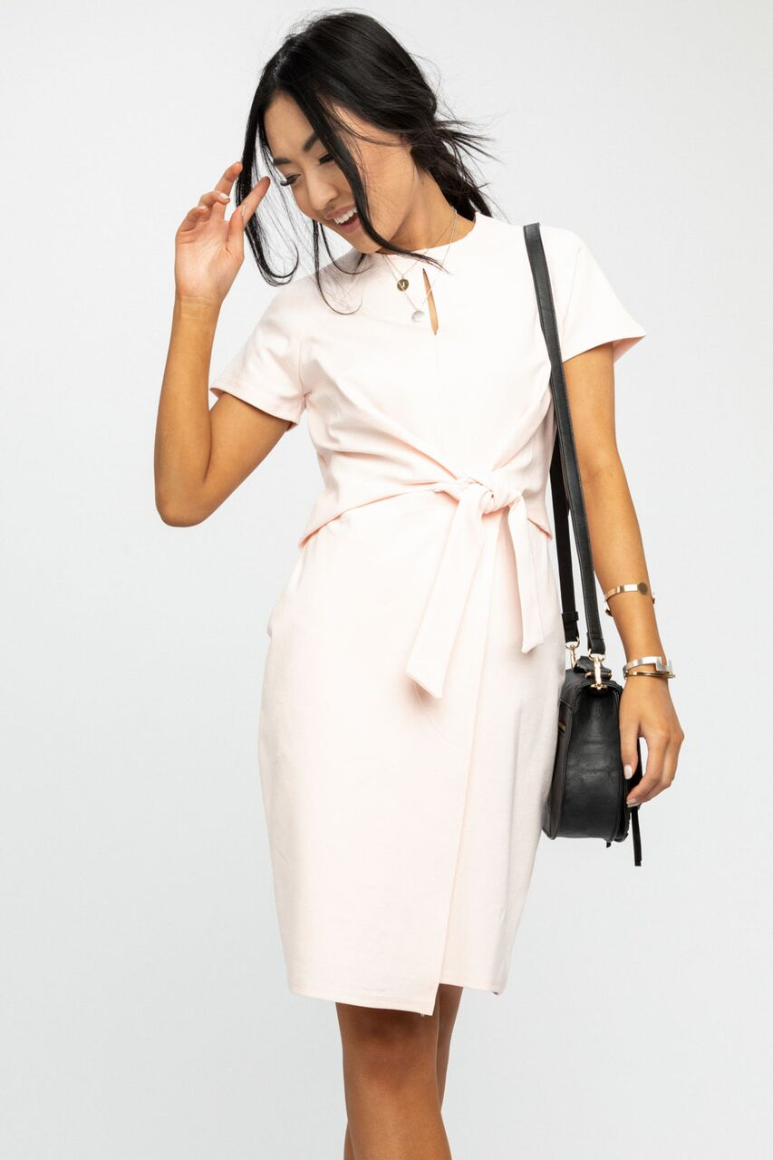 Executive Lady Pencil Dress in Blush