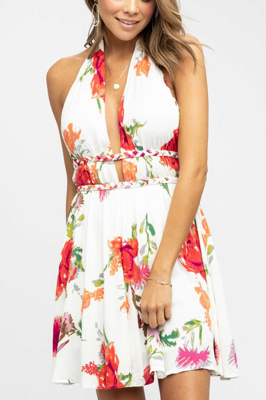 Out in Style Ivory Halter Dress