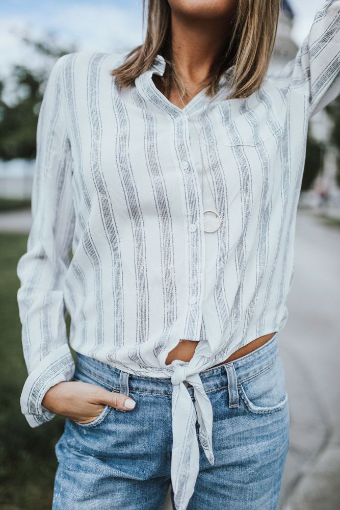 All That & Striped White Blouse