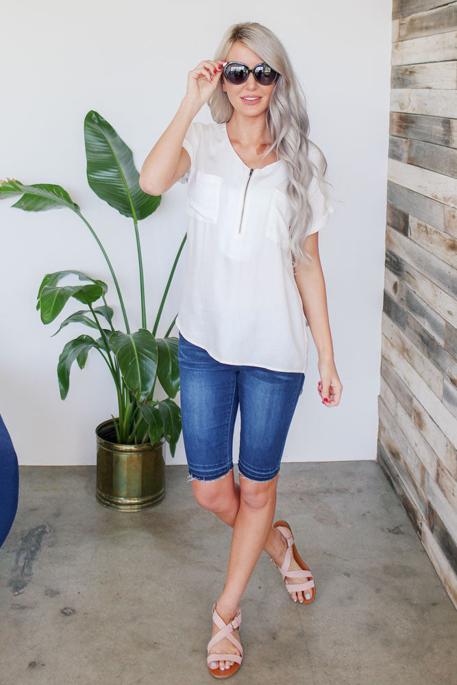 white top with pockets