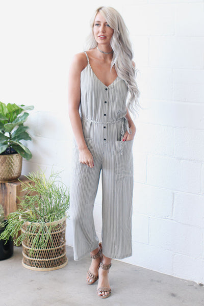 My Couture Striped Jumpsuit
