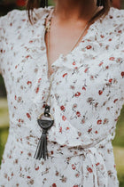 Lucky Me Tassel Necklace in Black - Bohme