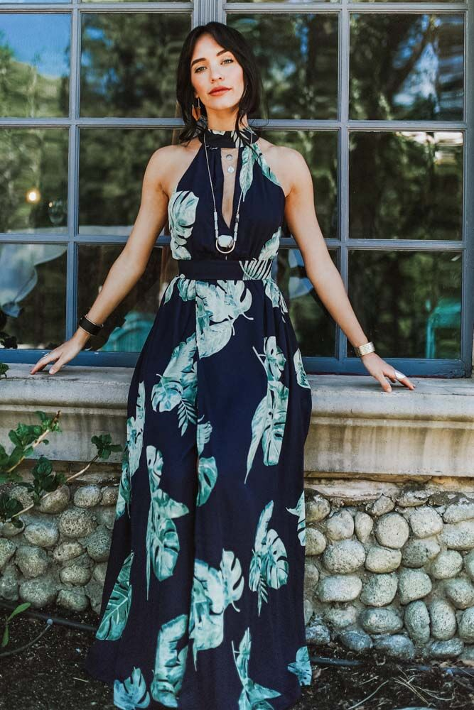 Final Sale - Navy Monstera Print Maxi Dress