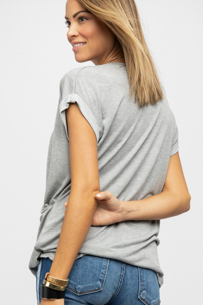 Cross Drape Top in Grey