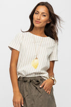 Homegrown Honey Striped Top in Ivory - Bohme