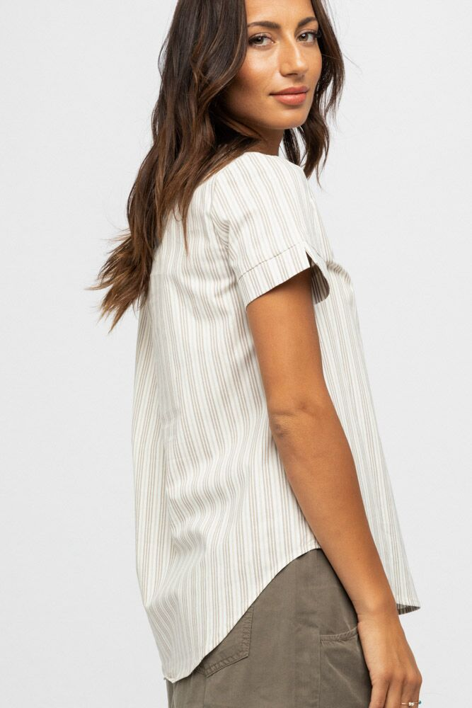 Homegrown Honey Striped Top in Ivory