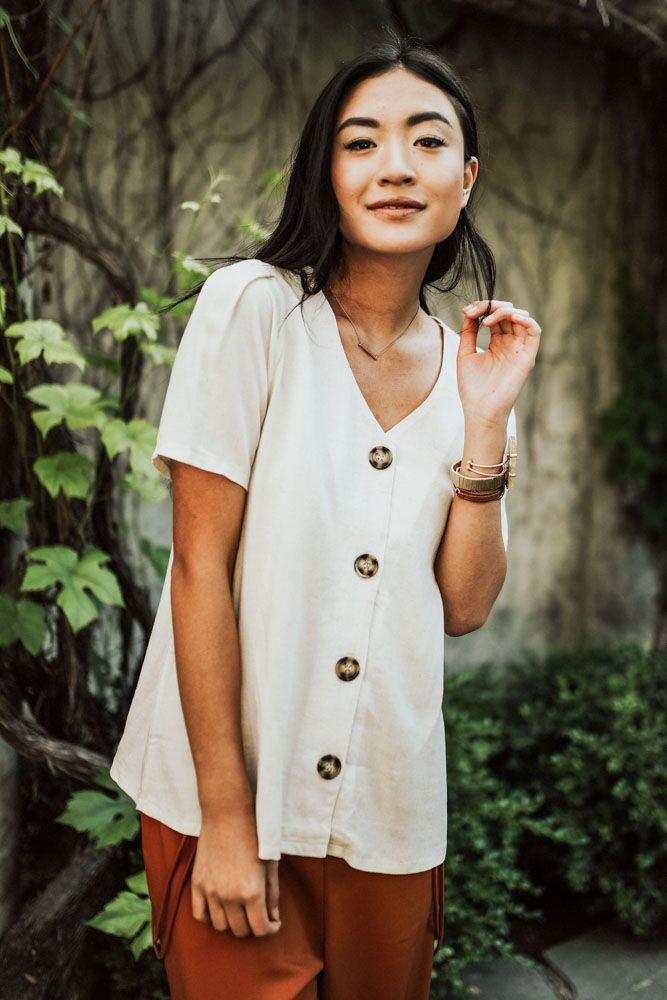 Riviera Maya Button Up Top in Oatmeal