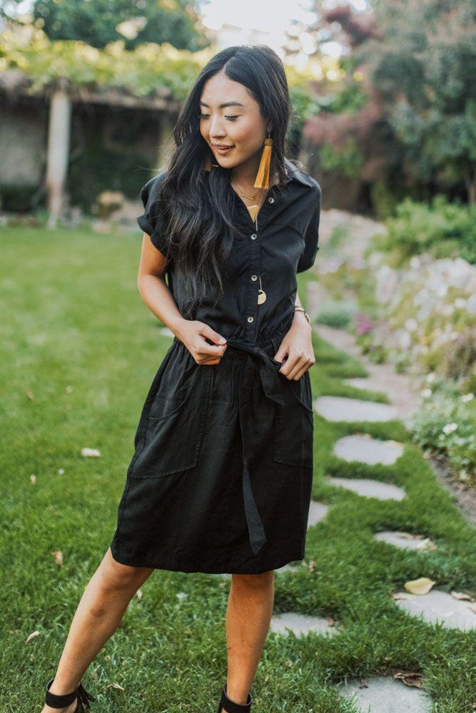 Going Abroad Cargo Utility Dress in Black-FINAL SALE - Bohme