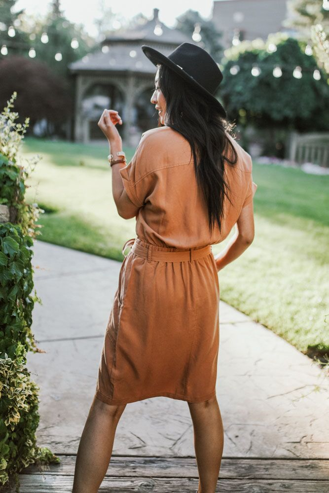 Going Abroad Cargo Utility Dress in Rust