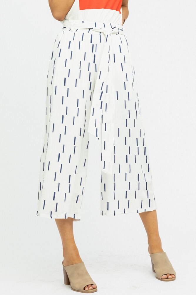 Lorena Crop Gaucho Pants in Navy - Bohme