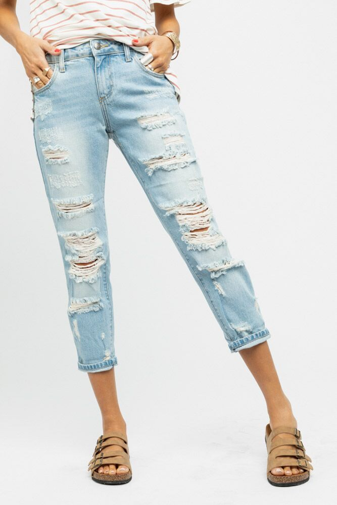 Cello Light Washed Distressed Jeans