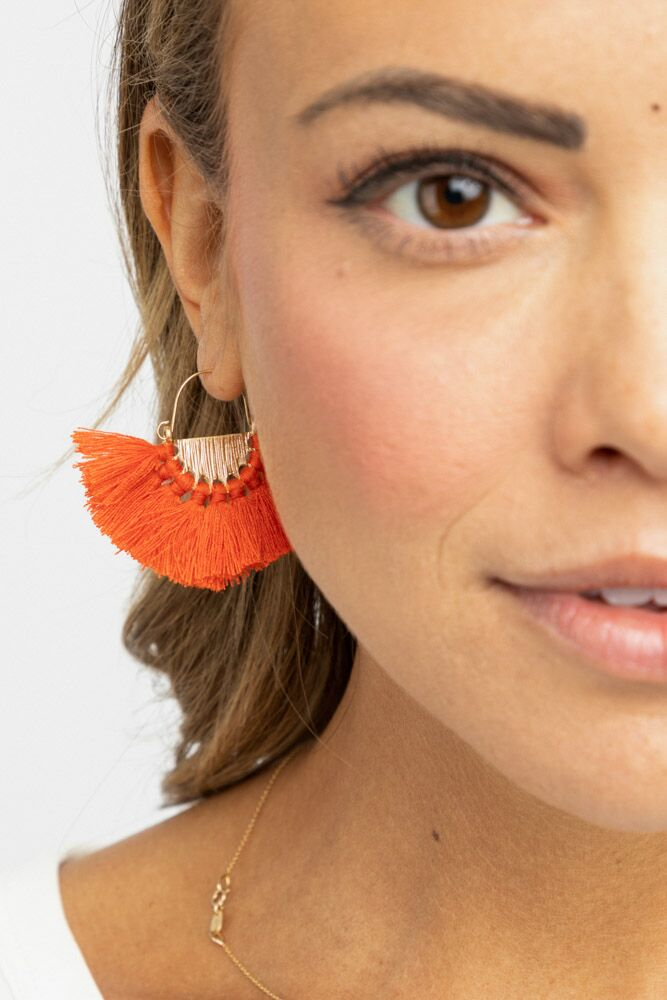Fringed Coral Earrings