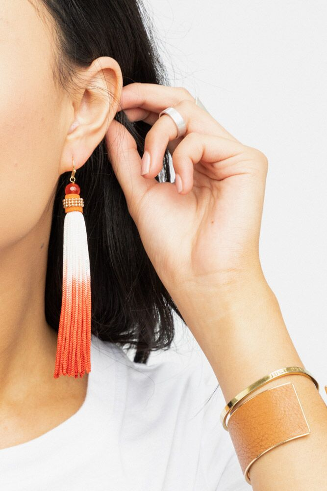 Bonita Ombre Tassel Earring in Red