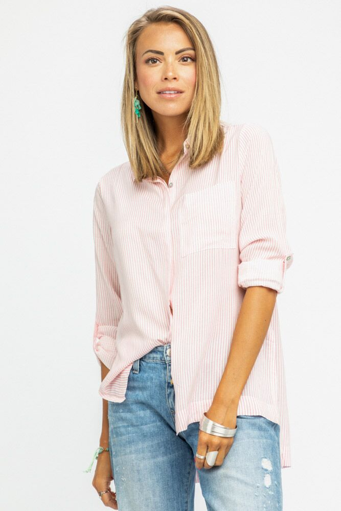 Voile Stripe Button Down Blouse - Bohme