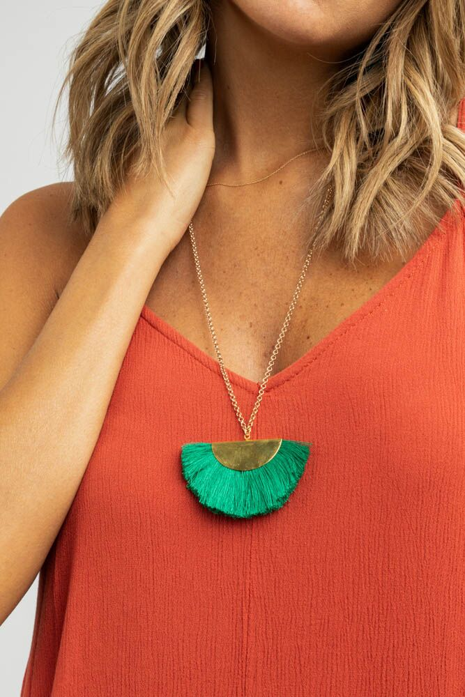 Santiago Tassel Necklace in Emerald-FINAL SALE