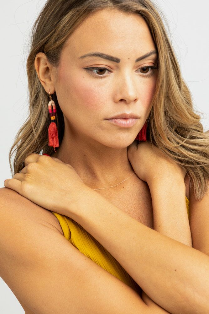 Mandela Tassel Earrings in Red